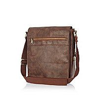 Brown zip detail cross body bag