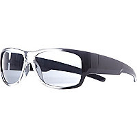 Grey plastic sporty wrap sunglasses
