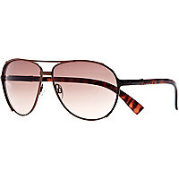 Brown metal tortoise shell aviator sunglasses