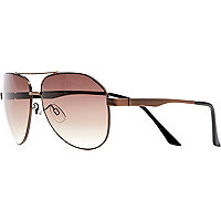 Copper tone metal aviator sunglasses