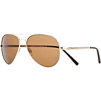 Brown metal aviator sunglasses