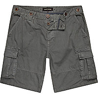 Grey patch pocket cargo shorts