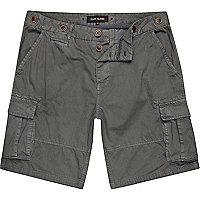 Grey patch pocket cargo shorts