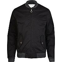 Black contrast trim bomber jacket