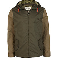 Green contrast panel casual jacket