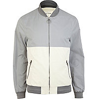 Grey colour block bomber jacket