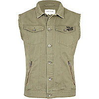 Khaki green studded denim gilet
