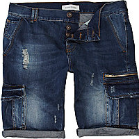 Blue distressed denim cargo shorts