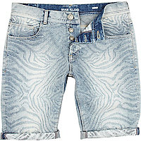 Light wash zebra print denim shorts