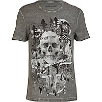 Grey distressed skull print t-shirt