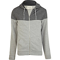 Grey marl contrast yoke zip up hoodie