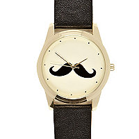 Black moustache watch