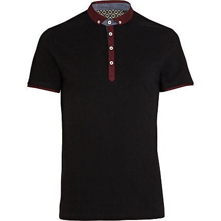 Black contrast collar polo shirt