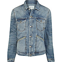Blue distressed utility pocket denim jacket