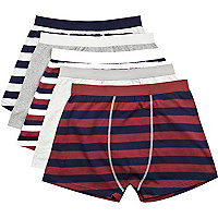 Grey block stripe boxer shorts pack