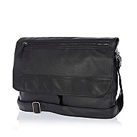 Black perforated panel flap over bag
