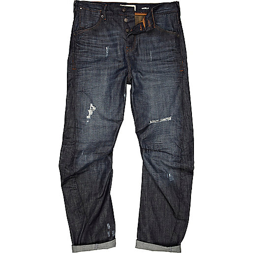 Dark wash distressed Curtis slouch jeans