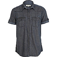 Blue dark denim military short sleeve shirt