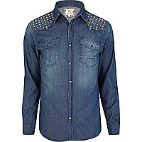 Blue stud shoulder denim shirt