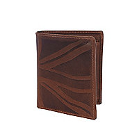 Brown leather union jack embossed wallet