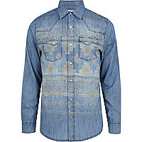 Blue faded aztec placement print denim shirt