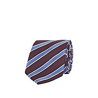 Burgundy and blue textured stripe tie