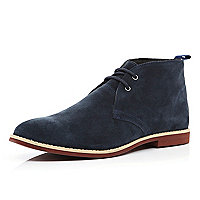 Navy suede lace up desert boots