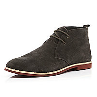 Brown suede lace up desert boots