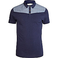 Navy contrast yoke western polo shirt