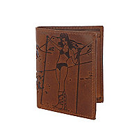Brown leather ski lady embossed wallet