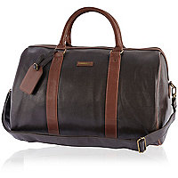 Brown textured contrast strap holdall