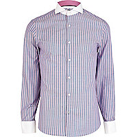Pink and blue striped cut away collar shirt