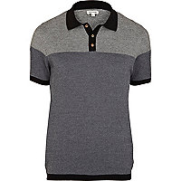 Black pattern colour block knitted polo shirt