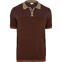 Brown colour block pattern knitted polo shirt