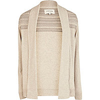 Ecru textured yoke waterfall cardigan
