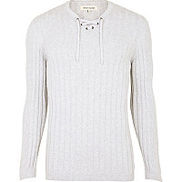 Grey rib lace neck jumper
