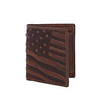 Brown leather stars and stripes wallet
