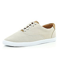 Stone canvas lace up trainers