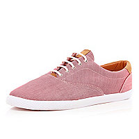 Red canvas lace up trainers