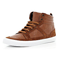 Light brown contrast panel high tops