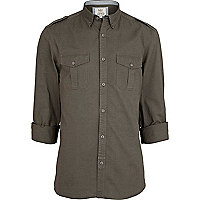 Green military roll sleeve shirt