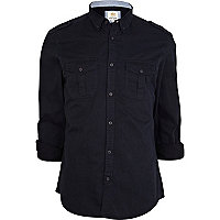 Navy military roll sleeve shirt