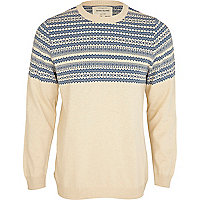 Ecru fairisle panel jumper
