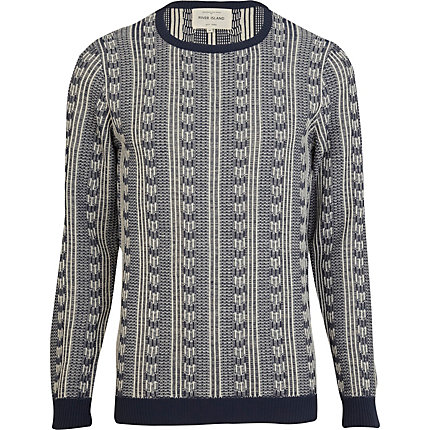 Navy inside out jacquard pattern jumper