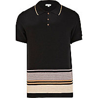 Black colour block knitted polo shirt