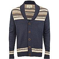 Blue aztec pattern panel cardigan