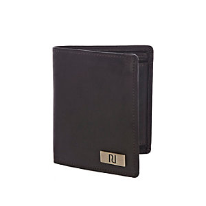 Dark brown leather fold over wallet