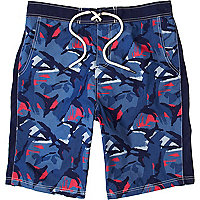 Blue camo print board shorts