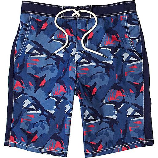 Blue camo print board shorts