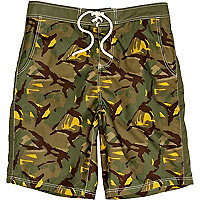 Green camo print board shorts